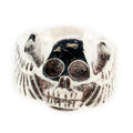 Estate Men's 925 Sterling Silver Skull and Wings Ring Band Size 8.5