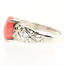 Vintage 925 Silver Marquise Cut Coral Ornate Size 6 Ring