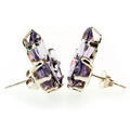 Estate Ladies 925 Silver Lilac Purple Marquise Cut Amethyst Earrings