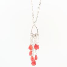 Estate Silver 925 Figaro Chain Blood Orange Gemstone Chandelier Drop Pendant