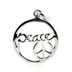 Chic Sterling Silver Peace Pendant Charm Jewelry