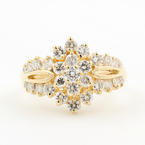 Vintage Estate 14K Yellow Gold Brilliant Diamond Rosita 1.75CTW Right Hand Ring