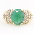 Retro Estate Ladies 14K Yellow Gold Diamond Emerald 3.85CTW Cocktail Ring