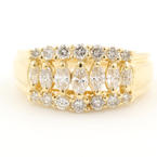 Classic Estate 14K Yellow Gold Diamond 0.75CTW Right Hand Pyramid Ring