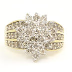 Vintage Estate 14K Yellow Gold Diamond 1.85CTW Cluster Right Hand Ring Jewelry