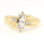 Estate Ladies 14K Yellow Gold Diamond 0.30CTW Bypass Right Hand Ring Jewelry
