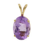 Retro Estate 10K Yellow Gold Purple Amethyst Oval Cut 4.38CTW Statement Pendant