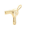 Estate 14K Yellow Gold High Polished 20mm 3D Hair Dryer Charm Pendant