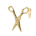 Estate 14K Yellow Gold High Polished 30mm 3D Scissor Charm Pendant