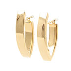 Classic Estate Ladies 14K Yellow Gold High Polished Huggie Saddle Back Earrings