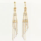 Modern Estate 14K Yellow White Gold Chandelier Bead Push Back Earrings