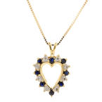 Estate 10K Yellow Gold Diamond Spinel Heart Pendant 14K Box Chain