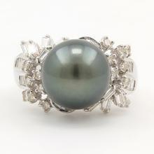 Classic Estate 18K White Gold Black Tahitian Pearl Diamond Right Hand Ring Jewelry