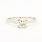 Estate 14K White Gold GSL Laser Inscribed Princess Cut Diamond Engagement Ring