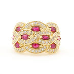 Estate Vintage 14K Yellow Gold Marquise Cut Ruby Diamond 1.65CTW BirthStone Right Hand Ring