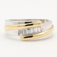 Modern Estate Men's 14K Two Tone White Yellow 0.35CTW Diamond Ring Band