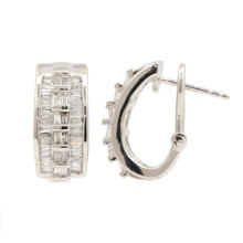 Classic Estate 14K White Gold Diamond Baguette 1.20CTW Huggie Omega Back Earrings