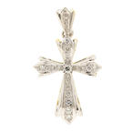Classic Vintage Estate 14K White Yellow Gold Diamond 0.50CTW Cross 40MM Pendant