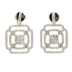 NEW Modern 14K White Gold Diamond 1.35CTW Drop Push Back Earrings