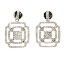 NEW Modern 14K White Gold Diamond 1.35CTW Drop Push Back Earrings