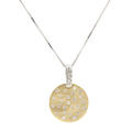 "Retro Vintage Estate 14K White Yellow Gold Diamond Round Pendant 20"" Box Chain"