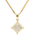 "Modern Estate 14K Yellow Gold Princess Cut Diamond Pendant 16"" Franco Chain"