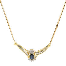 "Retro Vintage Estate 10K Yellow Gold Diamond London Blue Topaz 0.96CTW 17"" Necklace"