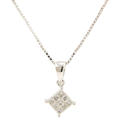 "Classic Estate 14K White Gold Princess Cut Diamond Pendant 16"" Box Chain"