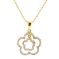 "Modern Estate 14K Yellow Gold Diamond 0.45CT Flower Pendant 18"" 10K Yellow Chain"