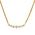 "Retro Estate 14K Yellow Gold Diamond 0.89CTW 17"" Spiral Snake Necklace"