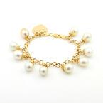 "Estate Modern Ladies 18K Yellow Gold Baroque Pearl 8"" Statement Bracelet"