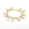 "Estate Modern Ladies 18K Yellow Gold Baroque Pearl 8"" Statement Bracelet"