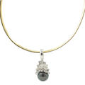 "Classic Vintage 18K White Gold Diamond Gold Black Tahitian Pearl Pendant 16"" Inch Omega Necklace"