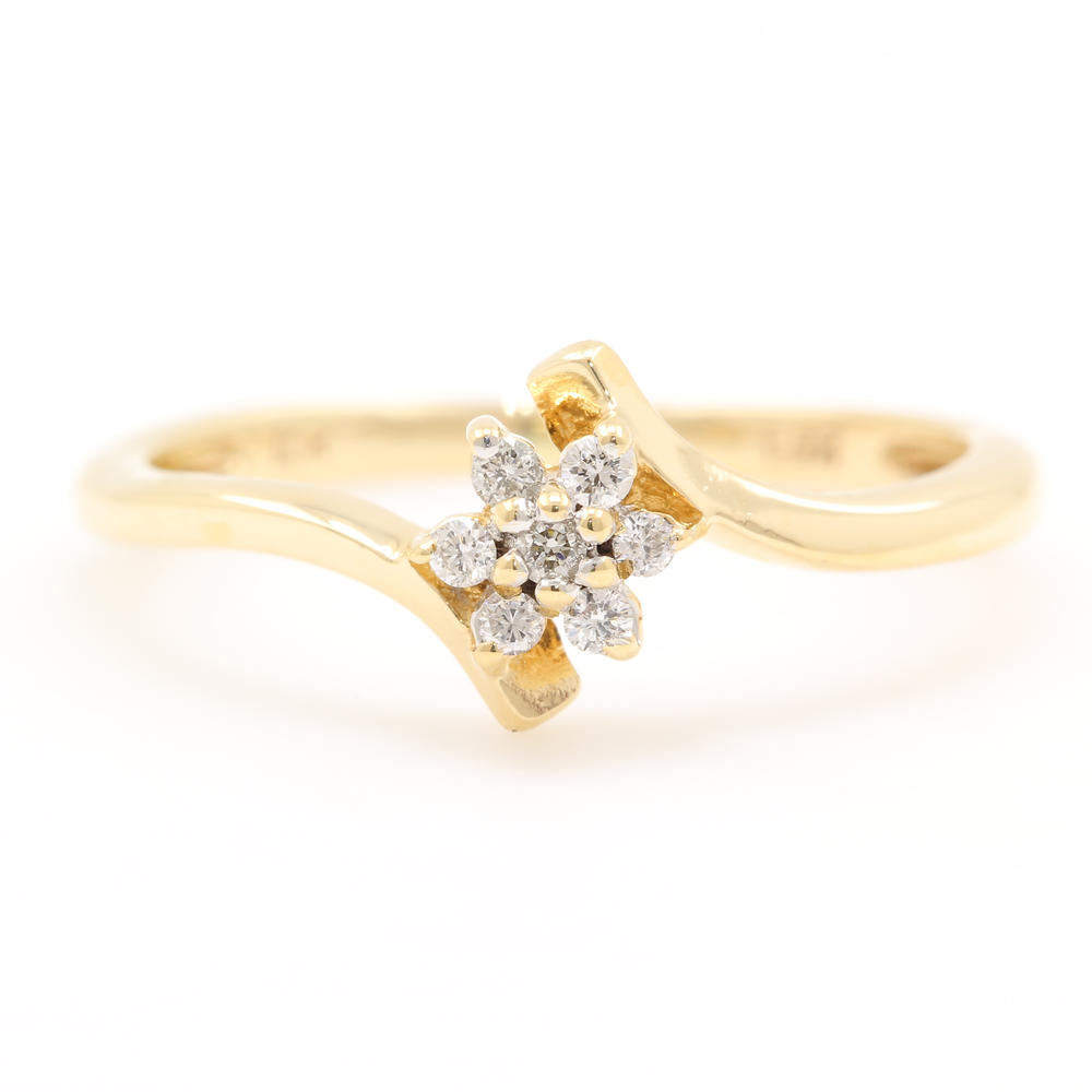 Estate Ladies 10k Yellow Gold Diamond Rosita Cluster Promise Right Hand Ring Online Pawn Shop Out Of Pawn