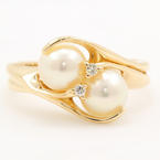 Vintage Estate Ladies 14k Yellow Gold Pearl Diamond Right Hand Ring Jewelry
