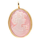 Vintage Estate 14K Yellow Gold Pink Cameo Pin Pendant Brooch Jewelry