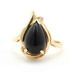 Vintage Retro Estate 10K Yellow Gold Black Pear Cut Accent Diamond Right Hand Cocktail Ring