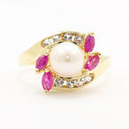Vintage Estate Yellow Gold 14K Pearl Ruby Topaz Ladies Right Hand Ring