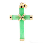 Vintage Estate 14K Yellow Gold Jade Cross 40MM Pendant