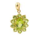Retro Estate 14K Yellow Gold Lime Green Peridot Oval Cut Cluster 25MM Pendant