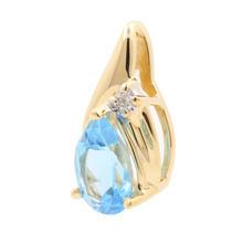 Retro Estate 14K Yellow Gold Diamond Pear Cut Blue Topaz Slide 20MM Pendant