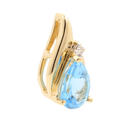 Retro Estate 14K Yellow Gold Diamond Pear Cut Blue Topaz Slide 20MM Pendant