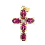 Retro Estate 14K Yellow Gold Tanzanite Diamond 2.00CTW Cross Pendant
