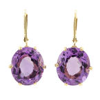 Estate 14k Yellow Gold Purple Amethyst Oval Cut Gems Drop French Back Earrings