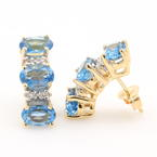 Vibrant Estate Ladies 14K Yellow Gold Blue Topaz Diamond Push Back Earrings