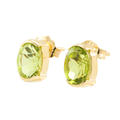 Classic Estate 14K Yellow Gold Oval Lime Green Peridot 1.70CTW BirthStone Studs