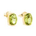 Classic Estate 14K Yellow Gold Oval Lime Green Peridot 1.70CTW BirthStone Studs