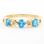 Classic Ladies 14k Yellow Gold Blue Zirconia Diamond Ring Band