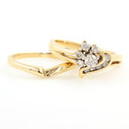Estate Vintage 10K Yellow Gold Diamond 0.30CTW Heart Anniversary Wedding Ring Set