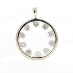 NEW Modern 14k High Polished White Gold Natural Diamond Circle of Love Pendant